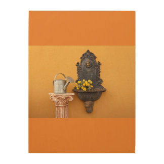 cast iron wall fountain on wood wall art wood canvases