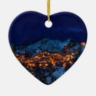 Castelmezzano Italy At Night Ceramic Ornament