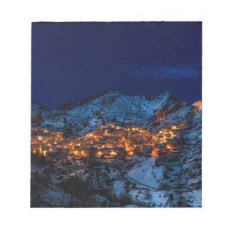 Castelmezzano Italy At Night Notepad