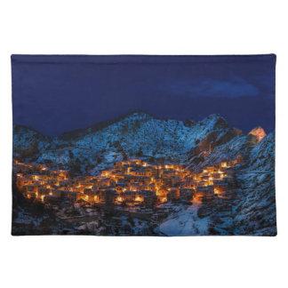 Castelmezzano Italy At Night Placemat