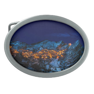 Castelmezzano, Italy - Snowy Winter Night Belt Buckles