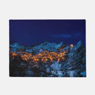 Castelmezzano, Italy - Snowy Winter Night Doormat