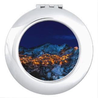 Castelmezzano, Italy - Snowy Winter Night Mirror For Makeup