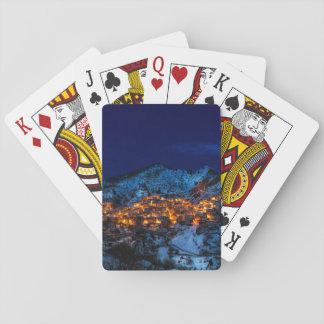 Castelmezzano, Italy - Snowy Winter Night Playing Cards