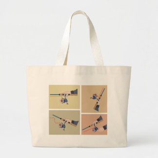 Casting spinning reel with spinning rod positions large tote bag