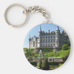 Castle and gardens basic round button keychain