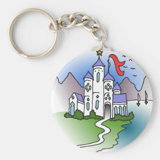 Castle and mountains basic round button keychain