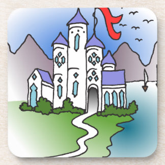 Castle and mountains drink coaster