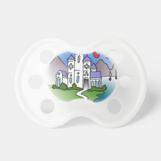 Castle and mountains pacifiers