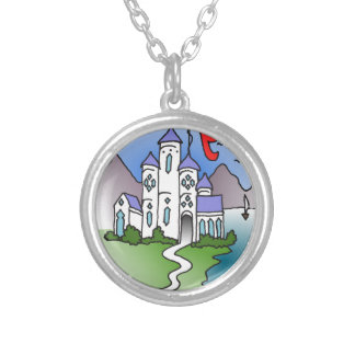 Castle and mountains silver plated necklace