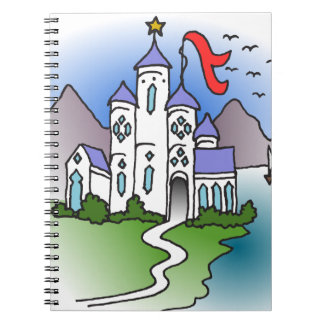 Castle and mountains spiral notebook