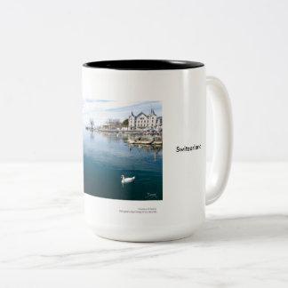 Castle and Swans Two-Tone Coffee Mug