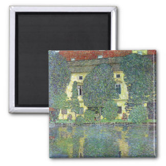 Castle at the Attersee by Gustav Klimt Square Magnet