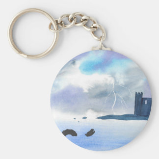 Castle By the Sea Basic Round Button Keychain