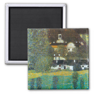 Castle Chamber at Attersee II by Gustav Klimt Square Magnet