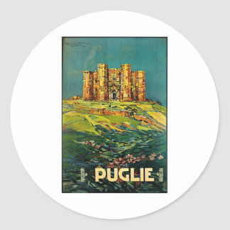 Castle del Monte Puglie Vintage Travel Art Classic Round Sticker