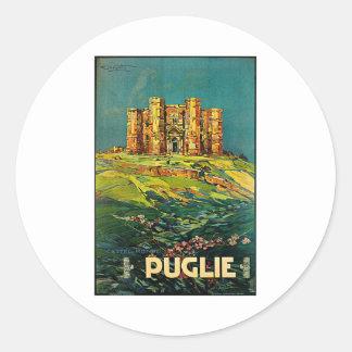 Castle del Monte Puglie Vintage Travel Art Round Sticker