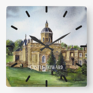 Castle Howard North Yorkshire Watercolor Painting Square Wall Clock