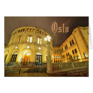Castle in Oslo, Norway at night Card