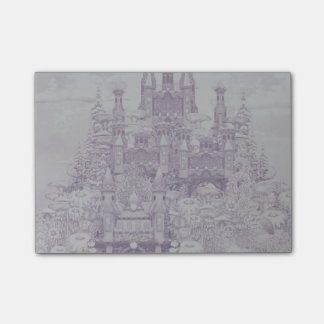 Castle in pink post-it notes