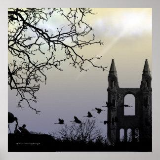 Castle In Silhouette Gothic Landscape Print