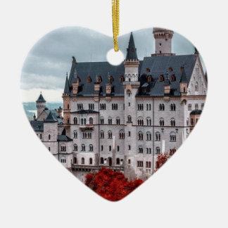 Castle in the Fall Ceramic Heart Ornament