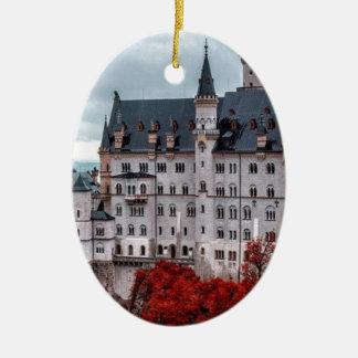 Castle in the Fall Ceramic Oval Ornament