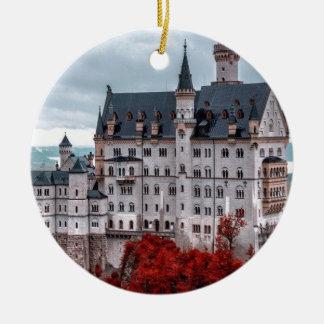 Castle in the Fall Round Ceramic Ornament