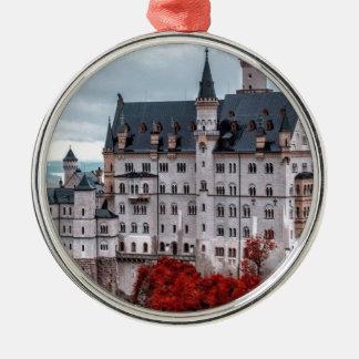 Castle in the Fall Silver-Colored Round Ornament