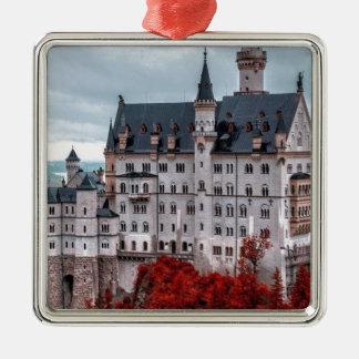 Castle in the Fall Silver-Colored Square Ornament