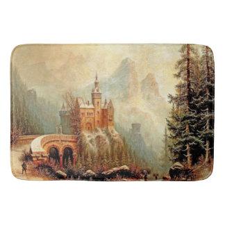 Castle in Winter Snow Alps Mountain Bath Mat