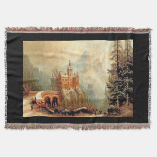 Castle In Winter Snow Alps Mountains Throw Blanket