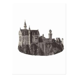 Castle Neuschwanstein Black and White Photograph Postcard