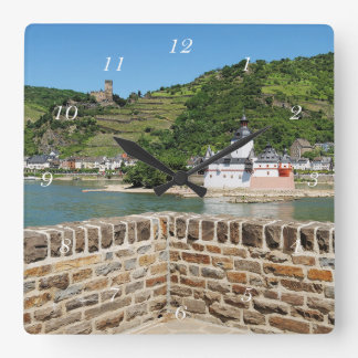 Castle Palatinat count stone with Kaub Square Wall Clock