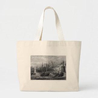 Castle Rushen, Castleton, Isle of Man, engraving b Large Tote Bag