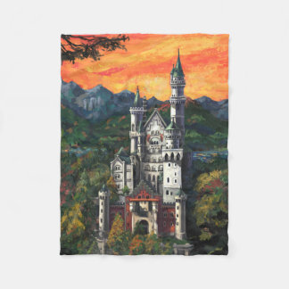 Castle Schloss Neuschwanstein Fleece Blanket