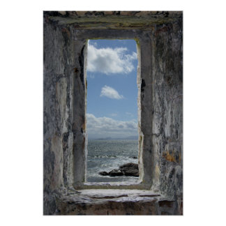 Castle Window Illusion with Seascape View Poster