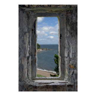 Castle Window with Beach View Poster