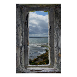 Castle Window with Sea View Poster
