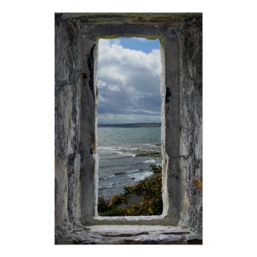 Castle Window with Sea View Print