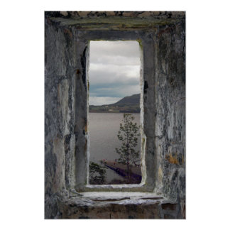 Castle Window with View of Loch Poster