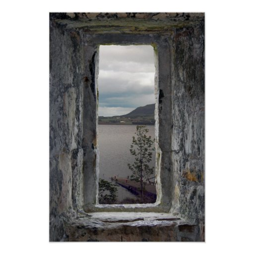 Castle Window with View of Loch Print