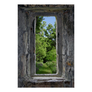 Castle Window with View of Path Poster