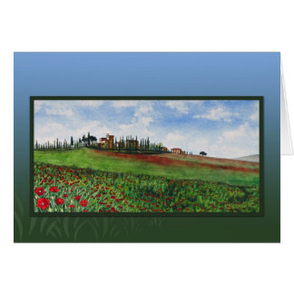 Castle with poppies card