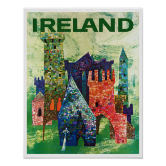 Castles of Ireland vintage Travel Poster