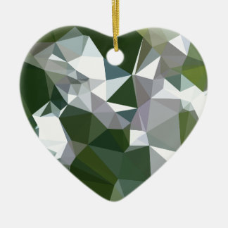 Castleton Green Abstract Low Polygon Background Ceramic Heart Ornament