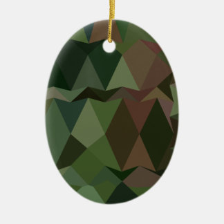 Castleton Green Abstract Low Polygon Background Ceramic Oval Ornament
