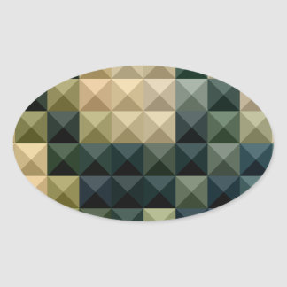 Castleton Green Abstract Low Polygon Background Oval Sticker