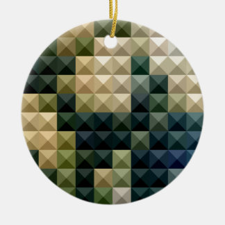 Castleton Green Abstract Low Polygon Background Round Ceramic Ornament