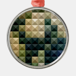 Castleton Green Abstract Low Polygon Background Silver-Colored Round Ornament